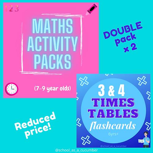 7-9yrs maths & tables cards