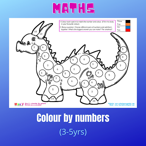 EYFS dino colour by numbers