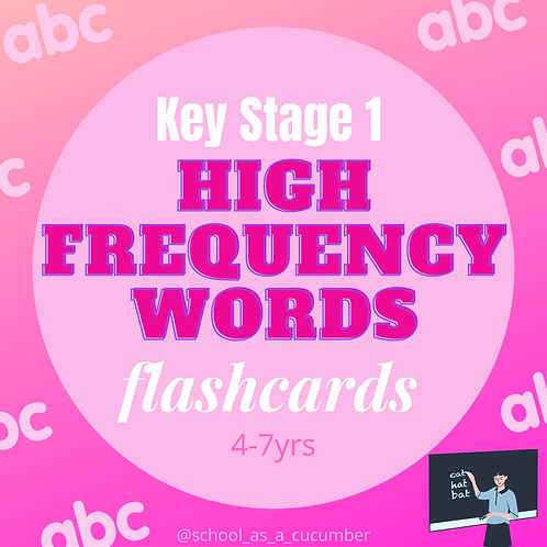 KS1 high frequency word flashcards