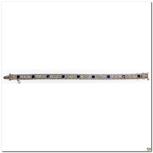 Platinum & Gold Diamond & Sapphire Bracelet