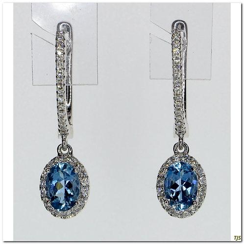 Gold Diamond & Blue Topaz Earrings