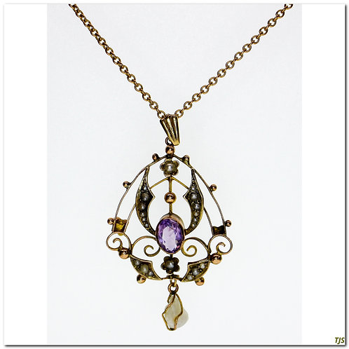 Victorian Seed Pearl Amethyst Necklace