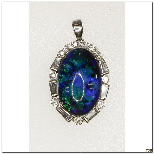 Platinum Diamond & Opal Necklace