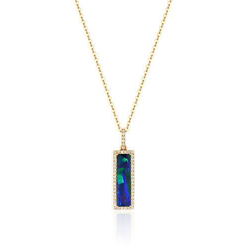Gold Diamond & Opal Necklace