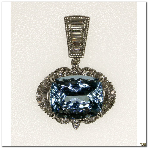 Platinum Diamond & Aquamarine Necklace