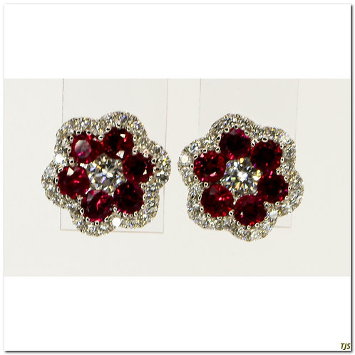 Gold Diamond & Ruby Earrings