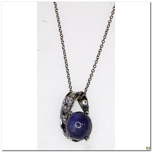 Gold Diamond & Blue Sapphire Necklace