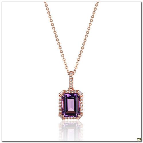 Gold Diamond & Amethyst Necklace