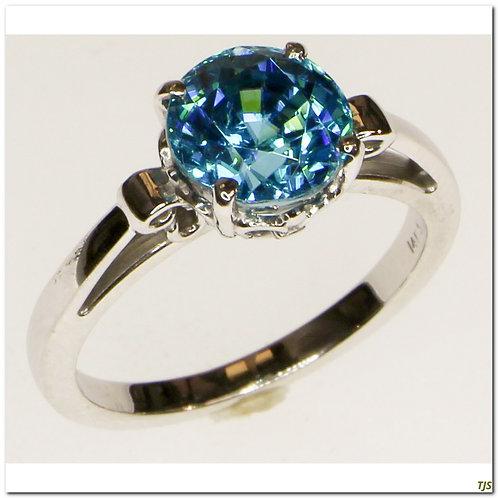 Gold Blue Zircon Ring