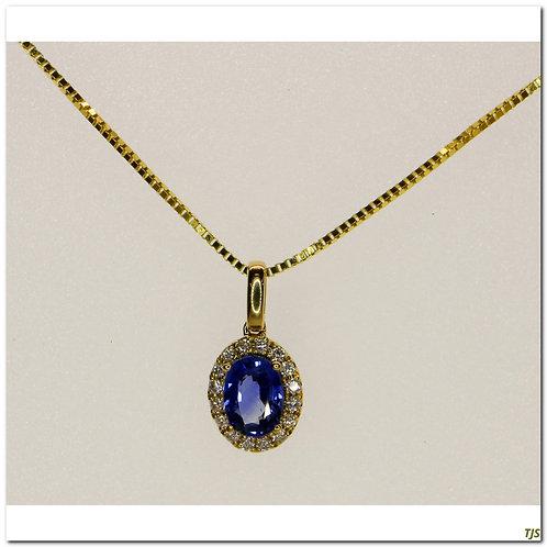 Gold Diamond And Sapphire Pendant