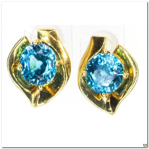 Gold Blue Zircon Necklace