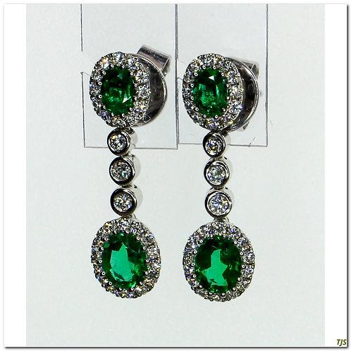 Gold Diamond & Emerald Earrings