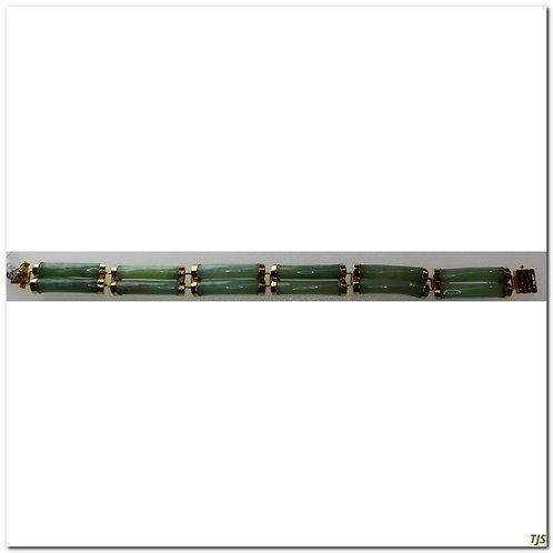 Gold Carved Jade Bracelet