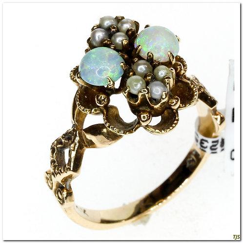 Opal & Seed Pearl Ring