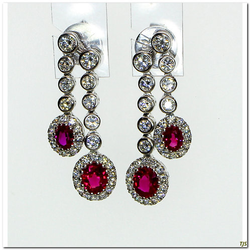 Gold Diamond & Ruby Earrings