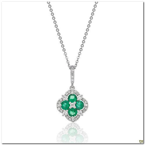 Gold Diamond & Emerald Necklace