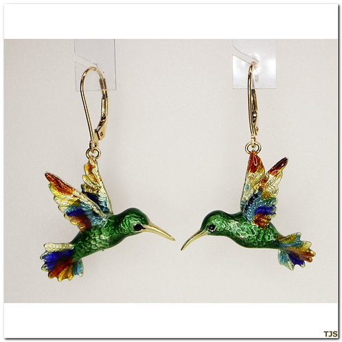 Gold Enamel Earrings