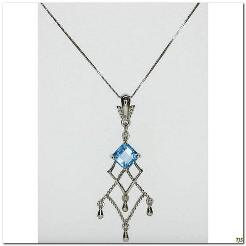 Gold Sapphire & Blue Topaz Necklace