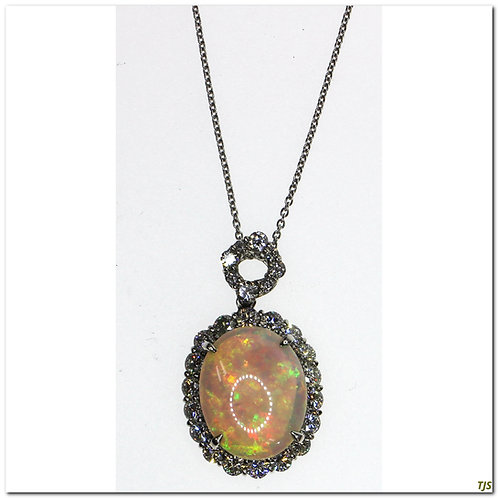Antique Platinum Opal Diamond Necklace