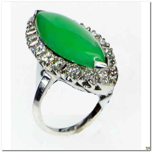 Gold Jade & Diamond Ring