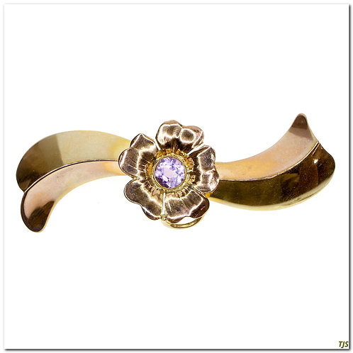 Rose Gold Amethyst Floral Broach