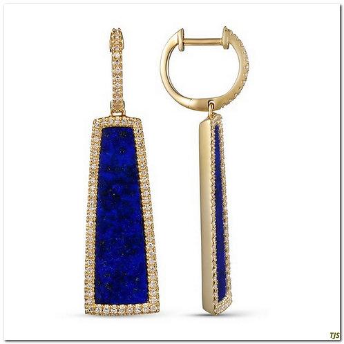 Gold Diamond & Lapis Earrings