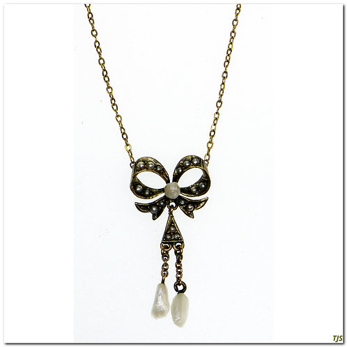 Victorian Seed Pearl Bow Necklace