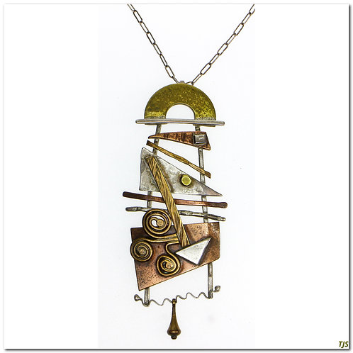 Sterling Coper And Brass Abstract Design Necklace