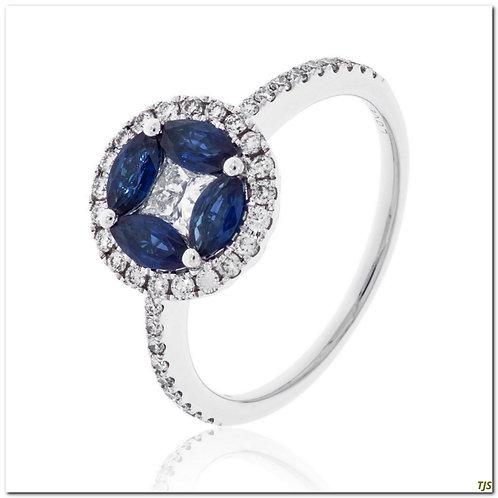 Gold Diamond & Sapphire Ring