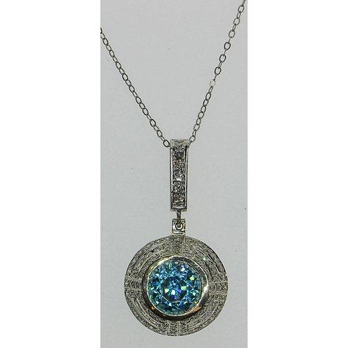 Gold Diamond & Blue Zircon Necklace