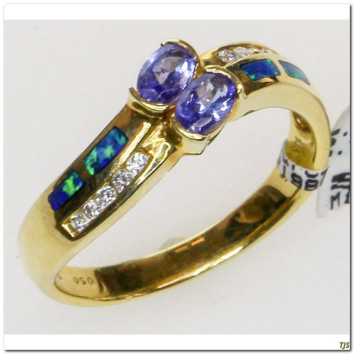 Gold Diamond & Tanzanite Ring