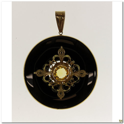 Gold Onyx With Citrine Necklace