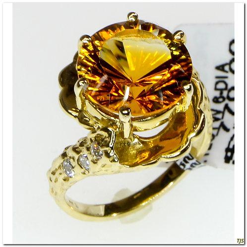 Gold Diamond & Citrine Ring