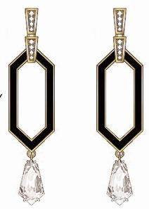 Gold Diamond & Enamel Earrings