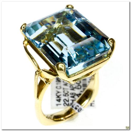 Gold & Aquamarine Ring
