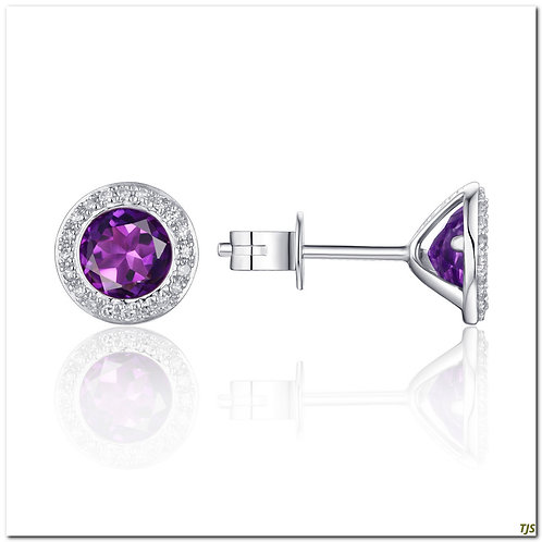Gold Diamond & Amethyst Earrings