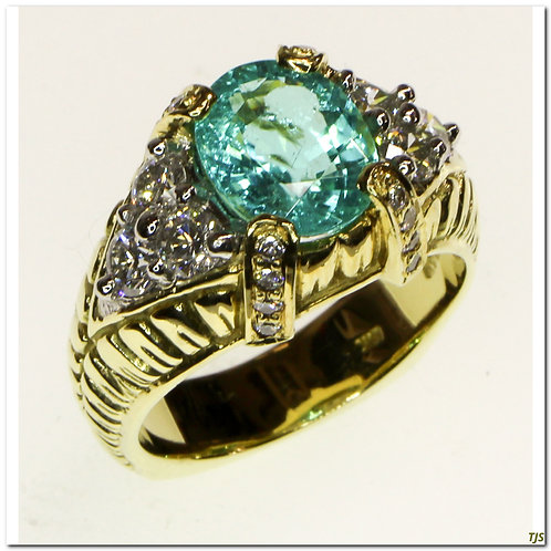 Gold Diamond & Tourmaline Ring