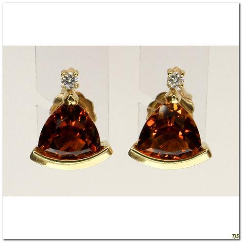 Gold Diamond & Citrine Earrings