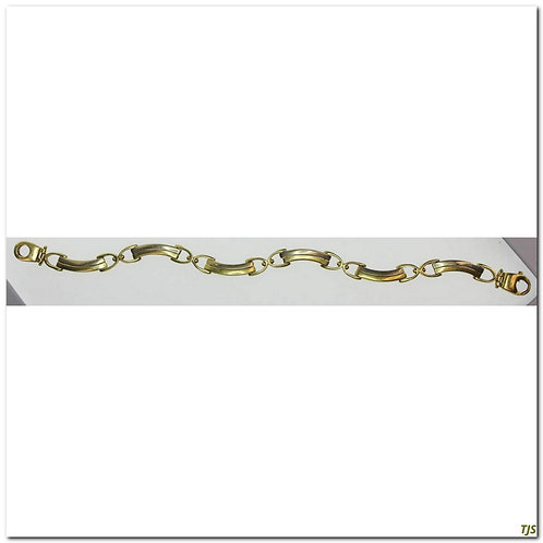 Tow Tone Gold Curved Link Bracelet