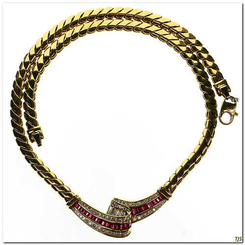 Gold Diamond Ruby Necklace