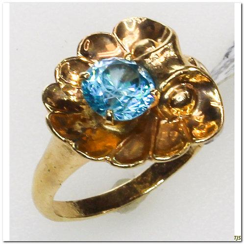 Blue Zircon Fluted Shell Ring