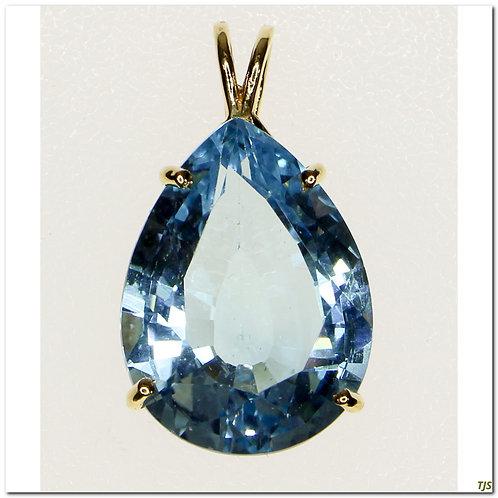 Gold Blue Topaz Pendant