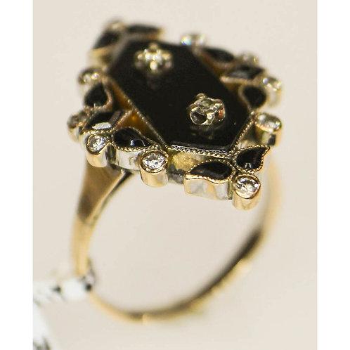 Victorian Black Onyx & Diamond Ring