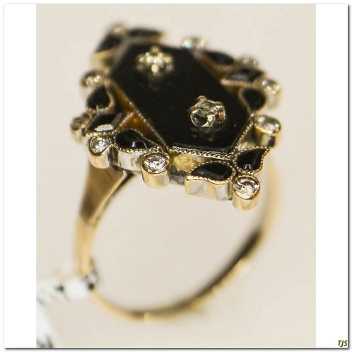 Victorian Black Onyx & Diamond Ring