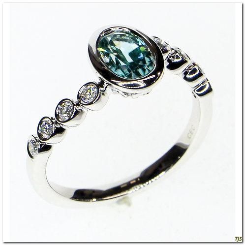 Gold Diamond & Blue Zircon Ring