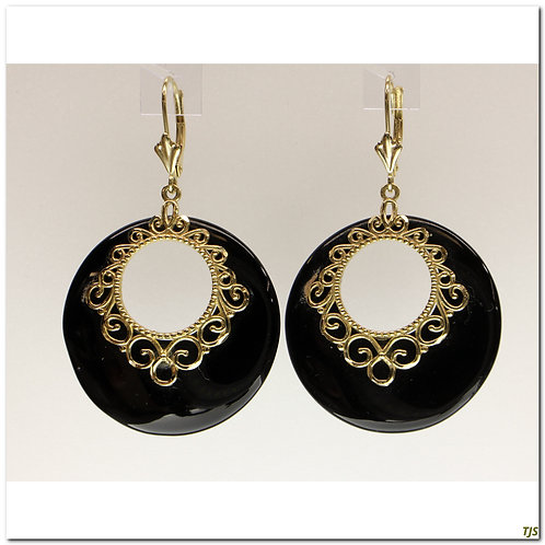 Gold Onyx Earrings