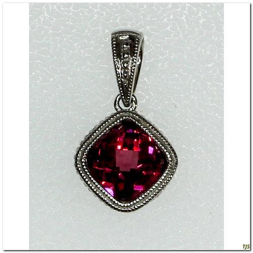Gold Diamond & Rhodalite Pendant