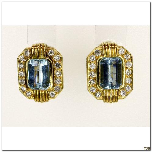 Gold Dimaond & Auqamarine Earrings