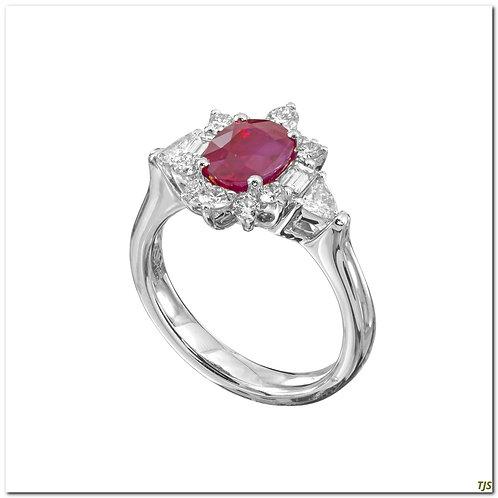Platinum Diamond & Ruby Ring