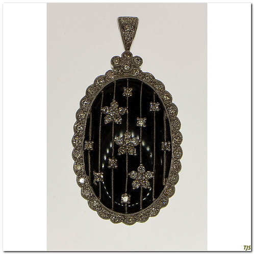 Gold Onyx Diamond Pendant